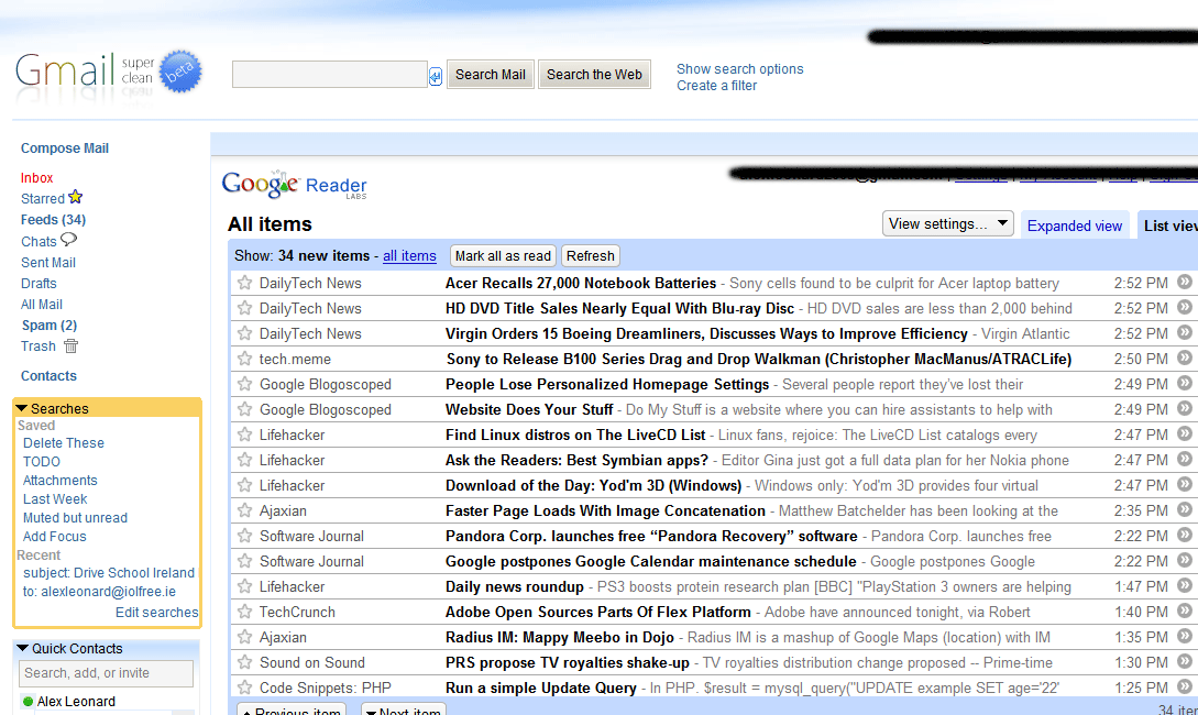 Gmail with Google Reader