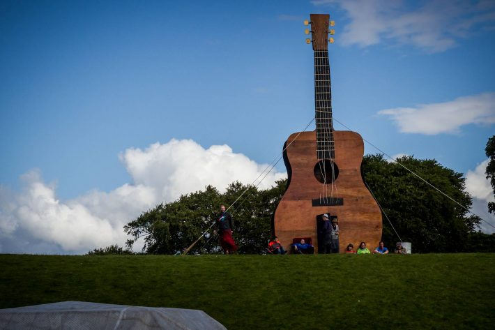 The impressive guitar sculpture overlooking the NPLD site.
