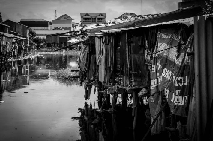 Shacks near Boeung Trabek Lake - Photo by Alex Leonard