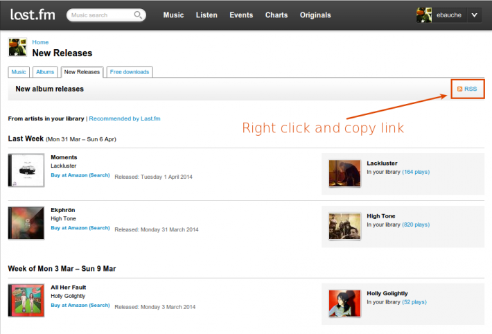 Find the RSS feed link in your last.fm new releases tab