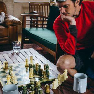 Jared playing chess