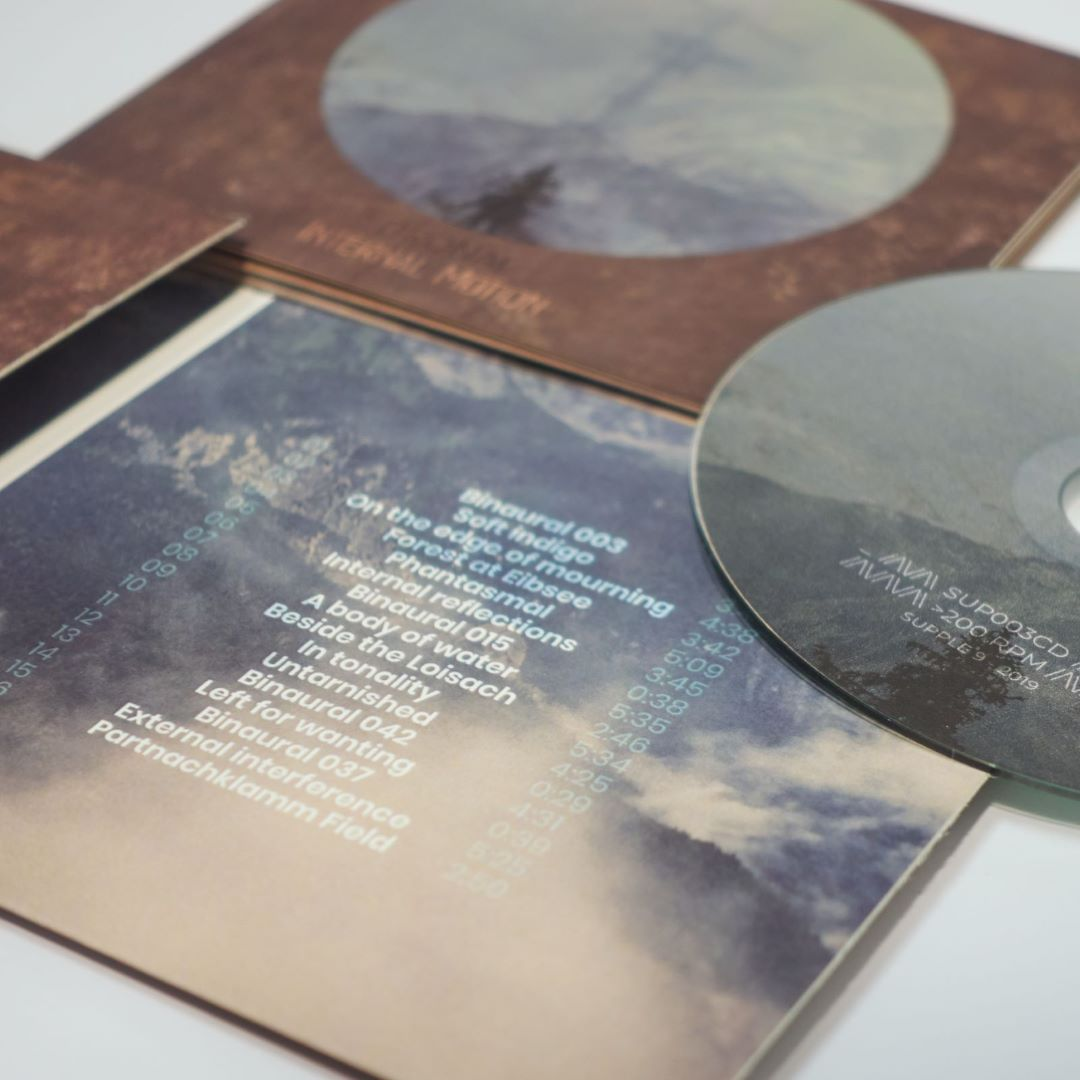 "Close up of the velvet-touch ecopack CD for Dronal's ""Internal Motion"""